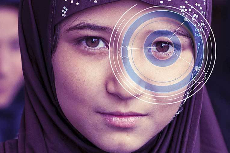 Photo of refugee face with eye graphic.